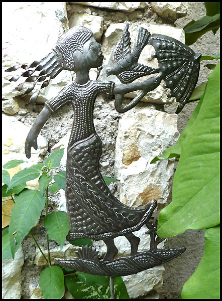 Garden plant stick. Outdoor garden decor - Haitian steel drum metal art.